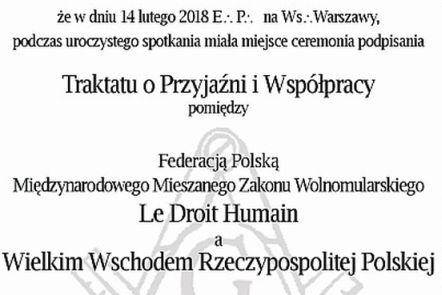 """Polska Federacja LDH nawiązała oficjalne relacje z """"Wielkim Wschodem Rzeczypospolitej Polskiej"""""""