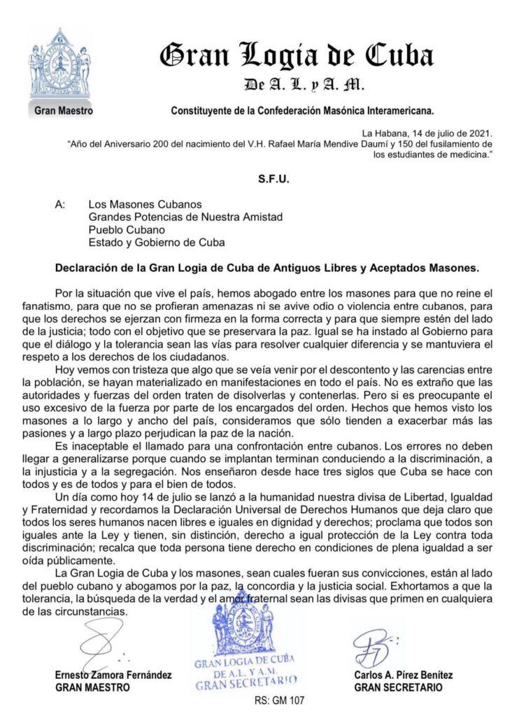 Stanowisko Wielkiej Loży Kuby wobec protestów